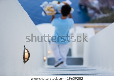 Room Service. Breakfast delivery at hotel. Focus on lamp - stock photo