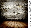 Room. The brown brick texture and wood floor with natural patterns background - stock photo