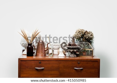 Room vintage style Old wooden cabinet at wall - stock photo