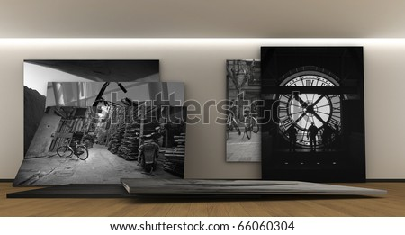 Room whit a panel whit photography - stock photo