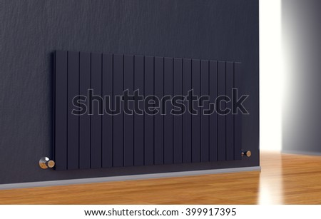 room with a modern radiator on a dark wall (3d render) - stock photo