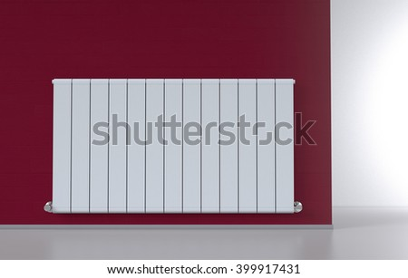 room with a modern radiator on a red wall (3d render) - stock photo
