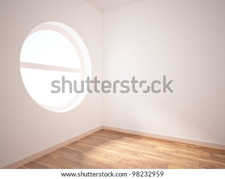 room with a round hole in the wall - stock photo