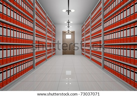 room with archive of office documents - stock photo