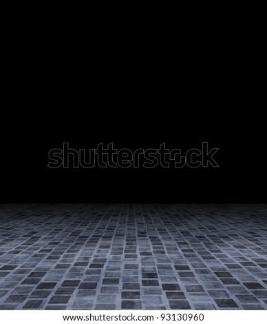 room with black wall and floor - stock photo