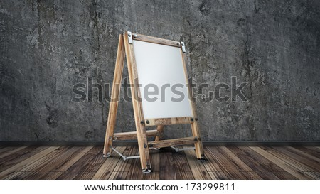room with Blank Canvas on easel, grunge wall and wooden floor. interior background  - stock photo