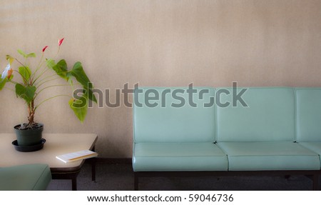 Room with chairs and potted plant - soft - stock photo
