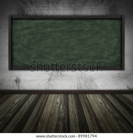Room with chalkboard - stock photo