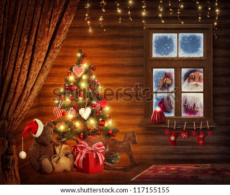 Room with christmas tree and presents - stock photo