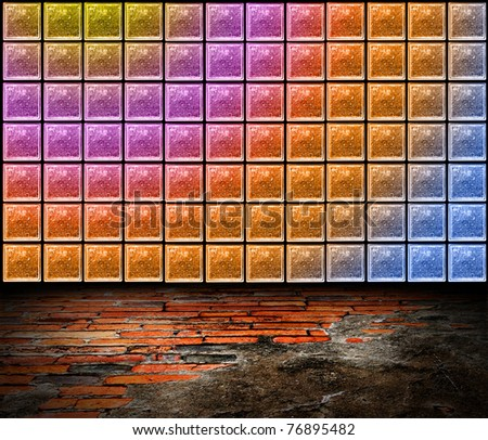 Room Color Glass Block Wall Uneven Stock Illustration