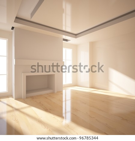 room with fireplace - stock photo