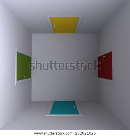 Room with four doors, top view. 3d illustration. - stock photo