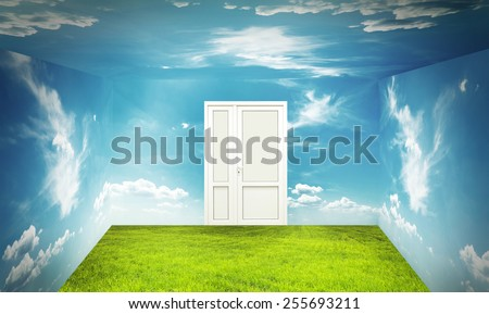 Room with green grass on floor and sky on wall