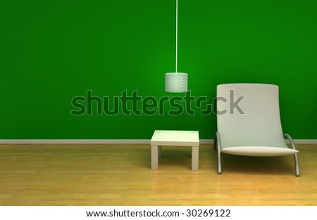 Room with green wall and furniture