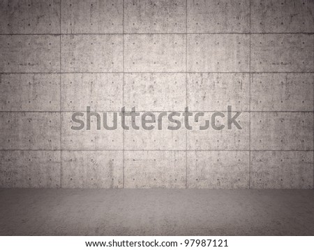 Room with grunge concrete wall - stock photo