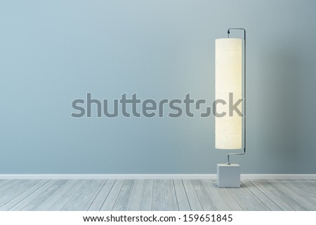 room with modern floor lamp - stock photo