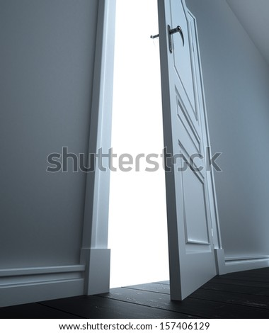 room with open door to white - stock photo