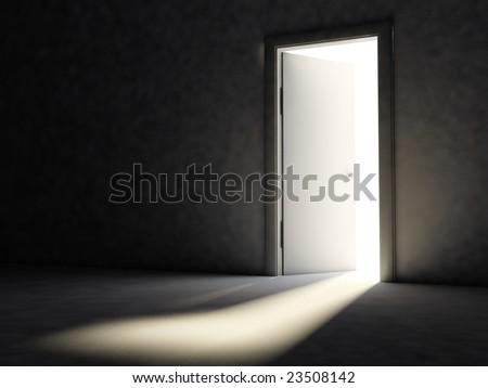 Room with opened door - stock photo