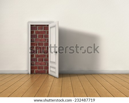 Room with opened door blocked by brick wall - stock photo