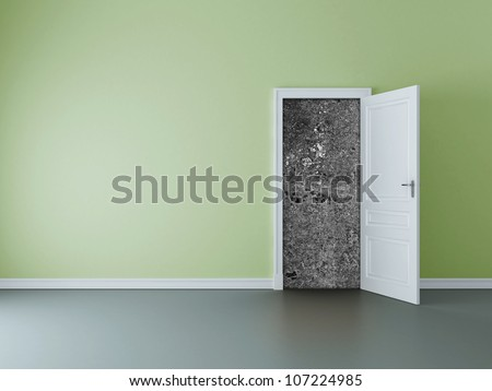 room with opened door to concrete wall - stock photo