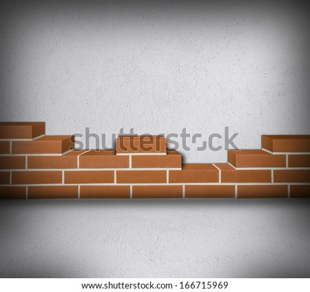 Room with partially built red brickwall and white concrete background - stock photo