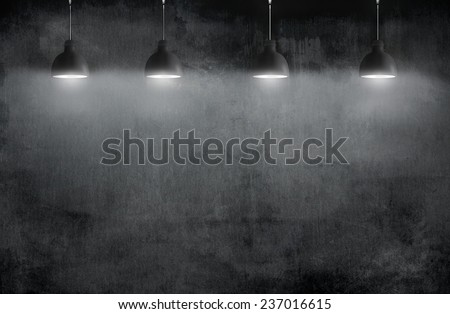 room with pendant lamp - stock photo