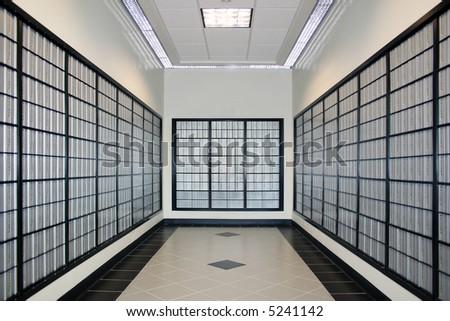 Room with po boxes - Symmetry - stock photo