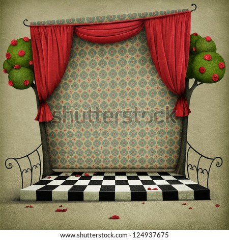 Room with red curtains and vintage wallpaper. - stock photo