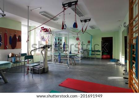 Room with rehabilitation equipment at hospital, horizontal - stock photo