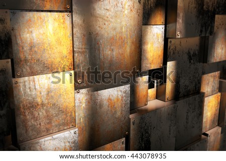 room with rusty box-3D illustration