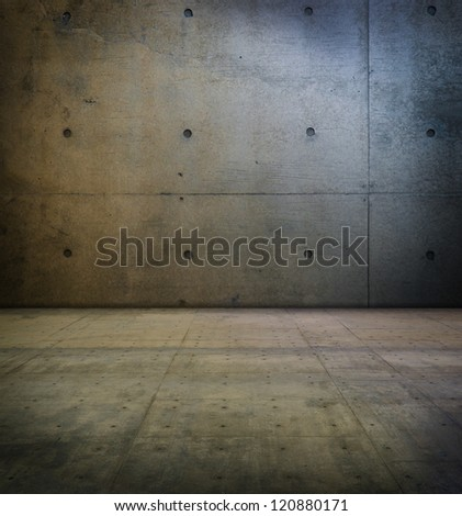 Room with smooth concrete wall and floor. - stock photo