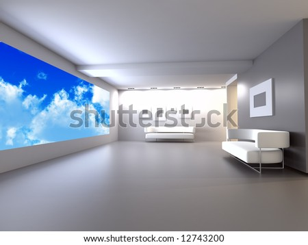 room with sofa in light tones with blue of the sky in the open window - stock photo