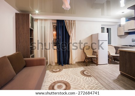 Room with soothing colors, homely atmosphere. studio apartment - stock photo