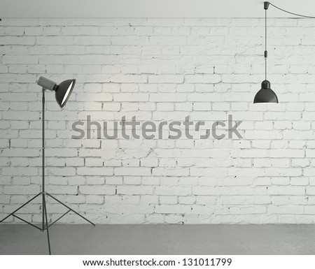 room with spotlight and lamp - stock photo