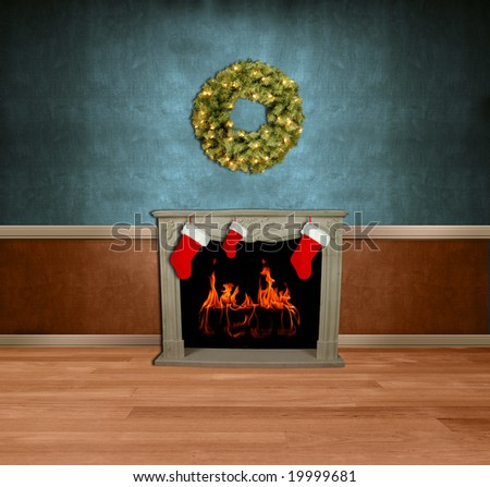 Room with stockings on fireplace and holiday wreath - stock photo