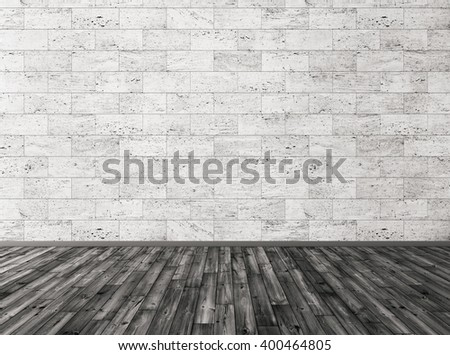 Room with stone tiles wall and black wooden floor interior background 3d render