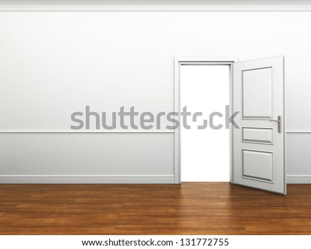 room with the door open - stock photo