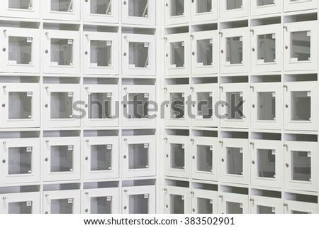 Room with white file cabinets - stock photo