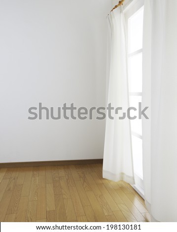 room with window and curtain - stock photo