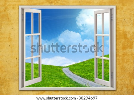 Room with windows open to a summer scape - stock photo