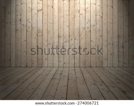 Room with wooden planked wall and flooring of rough sewed boards and light from ceiling