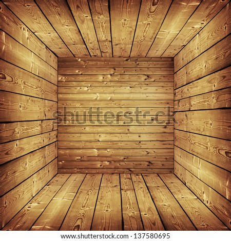 room with wooden walls and floor - stock photo