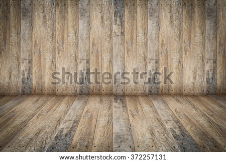 Room, wood wall and floor for background