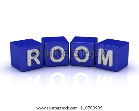 ROOM word on blue cubes on an isolated white background
