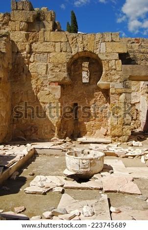 Rooms annexed to the Hall of Abd al-Rahman III, Medina Azahara (Madinat al-Zahra), Near Cordoba, Cordoba Province, Andalucia, Spain, Western Europe. - stock photo
