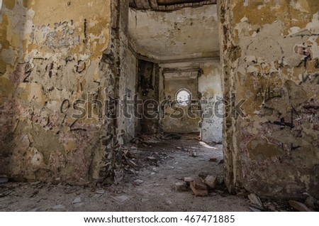 rooms of old dilapidated hunting lodge