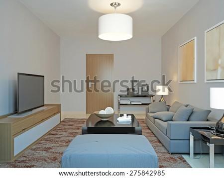 Roomy living room minimalism. 3d render - stock photo