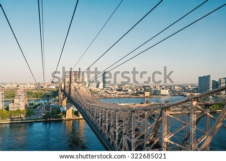 Roosevelt Island Tramway at daytime. The RIT is an aerial tramway that spans the East River and connects Roosevelt Island to the Upper East Side of Manhattan. - stock photo