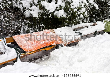 Roost of homeless people in winter - stock photo