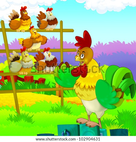 rooster conductor with a chicken choir